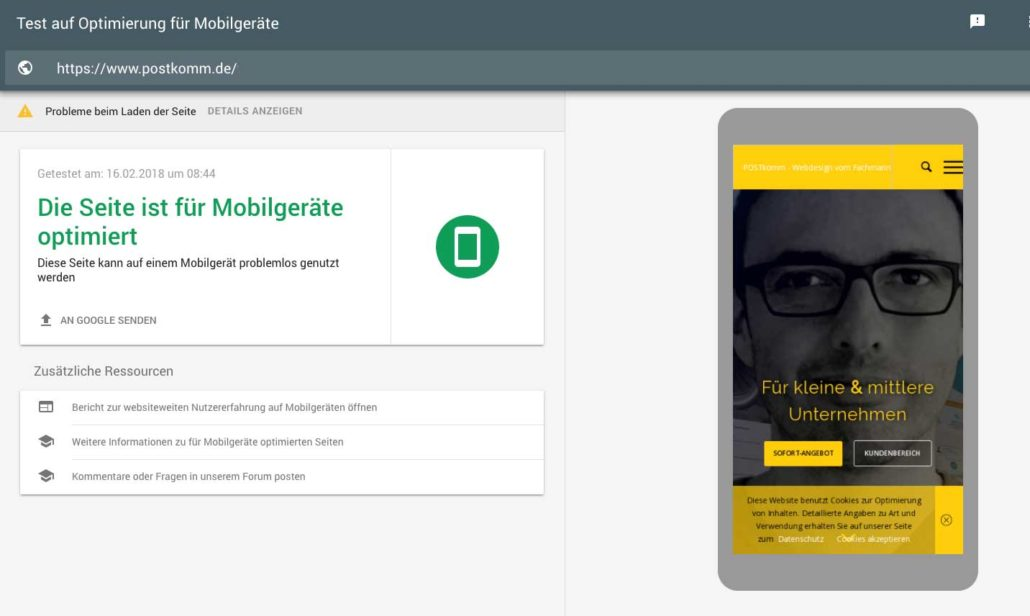 Mobile friendly test von Google
